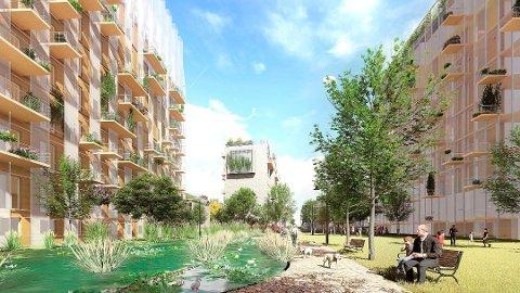 Mellom A- blokk og B- blokk: Slik mener arkitekten det kan bli, med vannspeil rundt de to største bygningene.