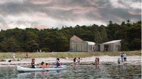Slik skal nybygget på stranda blir. Oslofjordens Friluftsråd jobber nå med å finne noen til å bygge.