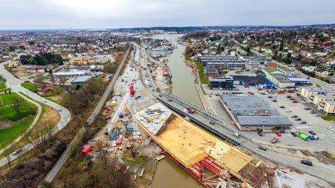 Innfartsåra Mosseveien rv 110 Seut Ørebekk veiutbygging Drone