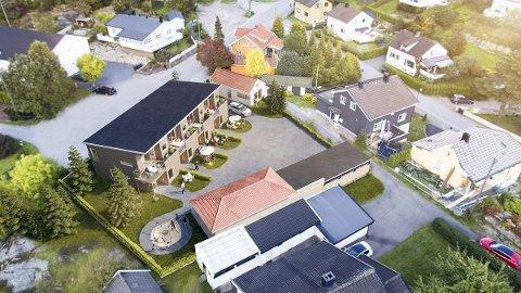 NYE ENEBOLIGER I KJEDE: Rett etter nyttår skal disse boligene i Haugeveien være på plass. (Illustrasjon: Bare Bolig og Eiendom AS)