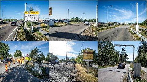 Her kommer de seks nye bomstasjonene: Øverst, fra venstre: Ved fylkesvei 109 på Råbekken, ved Dikeveien og i Evjebekkveien. Under fra venstre: Ved Fredrikstadbrua, ved riksvei 110 ved Simo og i Veumveien. (Foto: Geir A. Carlsson)