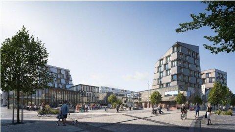 Torvbyens forslag til nytt bytorv sett fra nord.