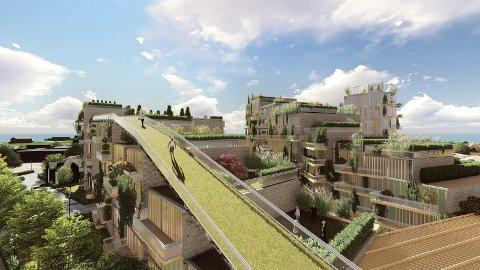 «BARE» 550: I forslaget til boligprogram for 2019-2031 legges det opp til bygging av 550 leiligheter i Cicignon Park. Her en tegning av prosjektet med den planlagte turveien over hustakene over til  Sjømannsparken.