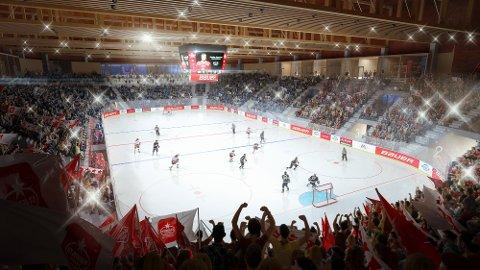 Gjeldsøkningen vil ikke føre til forsinkelser for Arena Fredrikstad, understreker Aps Atle Ottesen. Her ser vi den planlagte hallen fra innsiden i vinnerforslaget.