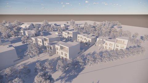 SLIK KAN DET BLI: Dette er en foreløpig skisse over hvordan arkitekten ser for seg at de planlagte rekkehusene i Klokkerstuveien kan se ut.