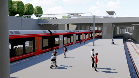 Fremtidsvyer. Slik tenker Bane NOR at den fremtidige togstasjon på Grønli kan bli seende ut.
