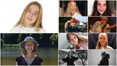 UNGE KULTURUTØVERE:  Ella Lockert Postl (14), Even Moe Treimo (14), Selma Holmquist (19), Amalie Bustgaard Pettersen (15), Tuva Beglund (17),Helene Skarpaas Nielsen (17) Pernille Jellum (17),  Kornelia Skogseth (19),  Henrik Granli Øieroset og Eirik Balder Thorenfeldt (15) kan nå smile litt ekstra bredt, og stolt konstatere at de er nominert til Drømmestipendet 2019.