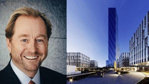 Røkkes forslag om å bygge en 225 meter høy skyskraper er markedsført som «Verdenshavenes hovedkontor» på 64 etasjer.