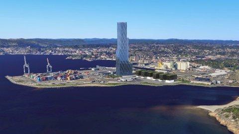 Larvik har tidligere kastet seg på i kampen om «Det store blå», og har allerede tegnet det 225 meter høye bygget inn på en aktuell sjønær tomt utenfor sentrum.
