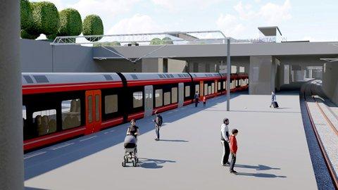 Uvisst når den nye stasjonen kommer: llustrasjonen viser en mulig løsning for Fredrikstad stasjon på Grønli. Spor og plattformer ligger under bakkeplan i en delvis åpen løsning. (Illustrasjon: Bane NOR)