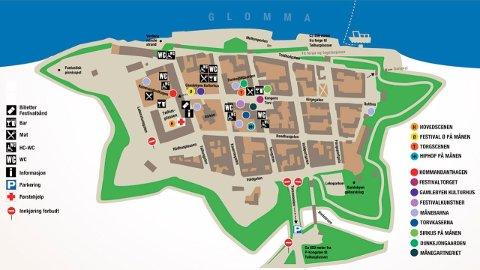 Kart over festivalområdet på Månefestivalen.