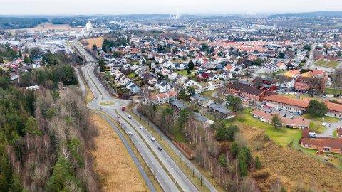 Målingen skjer på Rolvsøyveien ved Leie, i fjor var nedgangen i trafikken på 12 prosent.