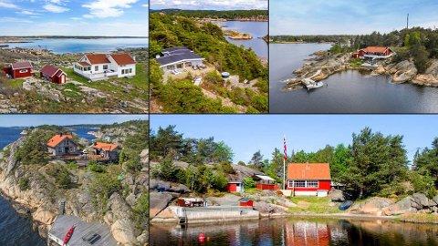 Dette er de dyreste hytteeiendommene som ble omsatt på Hvaler i fjor. Hyttene ligger på (øverst fra venstre) Viker, Store Granholmen, Sand, Lille Granholmen og Ingerholmen.