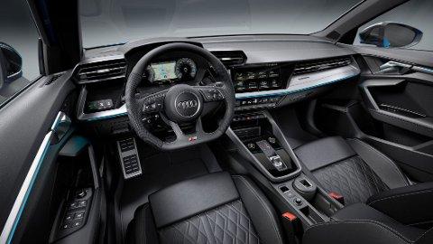 Slik blir interiøret i ladbare Audi A3 40 TFSIe. Med en elektrisk rekkevidde på hele 67 kilometer, kan dette på nytt bli en svært interessant bil for det norske markedet.