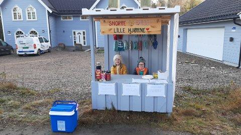 JOBBER FOR MÅLENE SINE: Søsknene Emilie og Snorre Stene Bjerke har egen kiosk i Toresmyr i Torsnes. Slik sparer de til både telefon, laptop og radiostyrt bil.