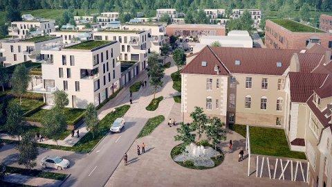 Slik ser arkitektene for seg at området ved tidligere Veum sykehus skal bli seende ut når boligene står klare.