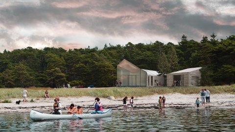 Blir attraktivt sted for friluftsfolket: Går alt etter planen, vil dette friluftshuset på Storesand være klart til åpning i mai i år. (Skisse: Enger/Nordin arkitektkontor)