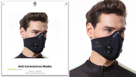 Gjennom bildesøk finner vi igjen bildet av mannen med masken, men da med merkenavnet «Xintown». Bildekollasj: Norskemasker.com/Google