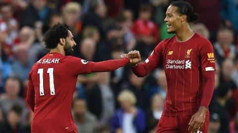 KLARE FOR NY SESONG: Mohamed Salah og Virgil Van Dijk har startet oppkjøringen til 2020-2021-sesongen. Foto: Oli Scarff (AFP)