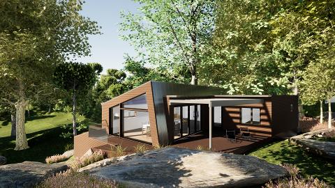 Hytta i Pulservik er nå godkjent.  Hytta er tegnet av Arkitektkontoret Hauger i Drammen.
