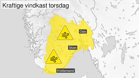 GULT VARSEL: Meteorologene har sendt ut et gult farevarsel for deler av Østlandet torsdag.