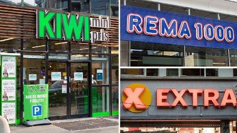 LIKE: Lavpriskjedene Rema, Kiwi og Extra er svært like på pris. Foto: Alexander Winger (Mediehuset Nettavisen) / Audun Braastad (NTB scanpix) / Montasje: Nettavisen