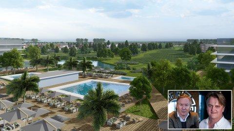 Tormod Stene-Johansen (til høyre) og Haakon Sæter er helt sentrale i den gigantiske utbyggingen i kystbyen Mielno i Polen. Nå planlegges et femstjernes golfhotell med 18-hullsbane. Illustrasjonen viser utsikten fra hotellet mot banen.