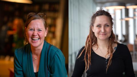 Anne Fjellro (t.v) og Sylwia Stasiak. har  begge fått jobb på Litteraturhuset i Fredrikstad.