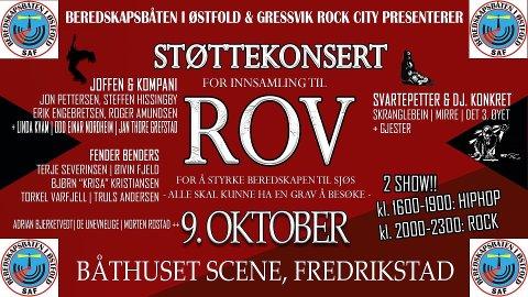 Programmet for støttekonsert for innsamling til ROV.