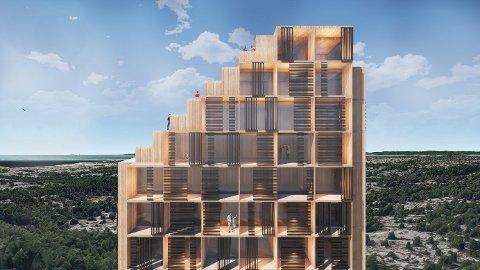 Er et hotell på 20 etasjer for voldsomt? Eller er det nettopp et slik hotell Hvaler trenger? Her er en av illustrasjonene som arkitektene i Fredrikstad-firmaet  Griff har laget og som viser hvordan hotellet kan bli.