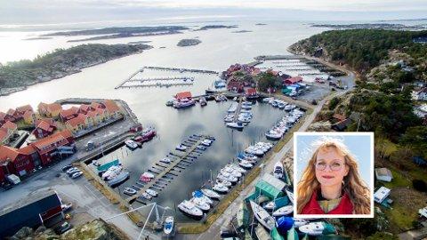 Skjærhalden båtforening har 300 båtplasser. Foreningen ble stiftet i 1952. Hvalerordfører Mona Vauger heller kaldt vann i blodet på dem som tror festeavtalen kan endres eller fjernes.