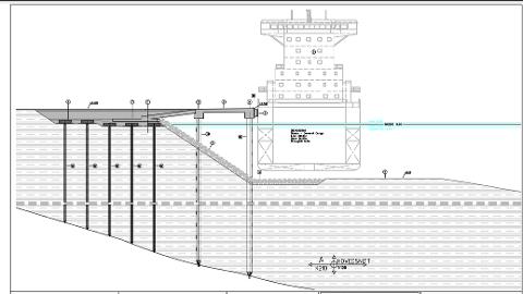 På tegningen ser vi dimensjonene for den planlagte kaia ved Moum, som skal betjene industribedrifter nord i Borge. Illustrasjon: Borg Havn