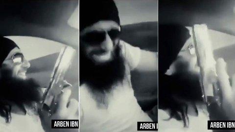 I dommen går det frem at det ikke var omstridt at Arben Hasani var fremmedkriger i IS i Syria og at han fikk tilsendt penger av den nå dømte norske borgeren. Foto: Youtube / Gazeta Express (montasje, Nettavisen)