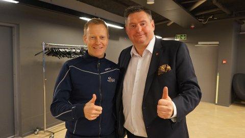 Arctic Race of Norway 2019: Sykkelrittet kommer tilbake til Lofoten, Vesterålen og Narvik i 2019. Her er ARN-sjef Knut-Eirik Dybdal og ordfører i Narvik, Rune Edvardsen, avbildet sammen i Oslo mandag kveld.