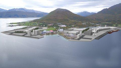 Harstad Havn har allerede kjøpt industriområdet på Rødskjær. Nå vil de fylle ut for å få mellom 600 og 800 kvadratmeter med nye industriarealer. Massene ønsker de å hente fra byggingen av Hålogalandsveien.