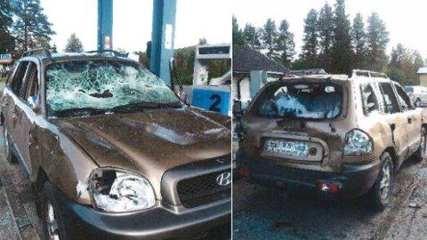 RAMPONERT: Slik så bilen ut etter hendelsen. Foto: Polisen