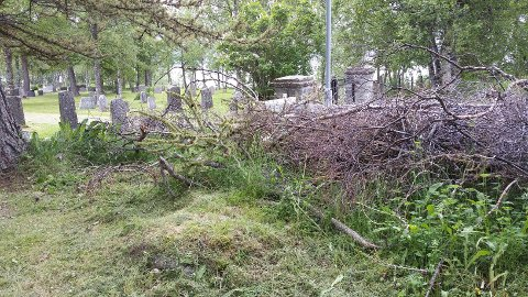Denne haugen med kvister skjemmer inngangen til kirkegården i Bjerkvik og bør fjernes.