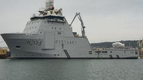 KV «Jarl» ble bygd i 2015, ifølge rederiet. Skipet er 91 meter langt.