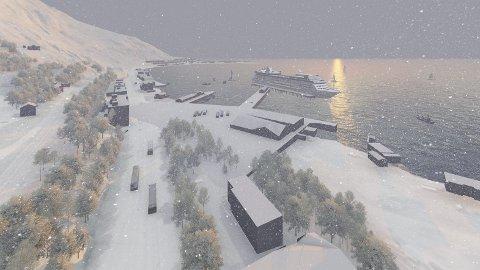Kanskje til høsten: Den nye cruisekaia i Narvik, som også vil bli sentral i forbindelse med et eventuelt alpin-VM. Dan kan stå klar til bruk allerede i høst.  Ill: Narvik Havn