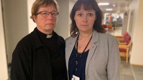 BERØRTE: Ordfører Monica Nielsen (t.h) og prost Anne Skoglund er sterkt preget av det som har skjedd og er opptatt av å ivareta de berørte. Sistnevnte vil be for dem under gudstjenesten i Nordlyskatedralen.