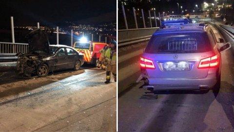 TOTALSKADD: Den grå bilen til høyre tilhører Steve Berg. Hele siden på bilen er totalskadd etter å ha blitt kjørt på av den svarte bilen til venstre.