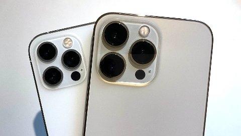 STOR FORSKJELL: Kameralinsene på iPhone 13 Pro (t.h.) har vokst betraktelig siden fjorårets modell. Det følges opp med bedre teknologi og et langt bedre kamerasystem.