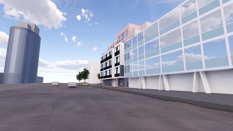 NYE BANKBYGGET: Slik så eierne av Kongens gate 24 for seg at det nye bankbygget skulle se ut etter at de var ferdig med den nye boligblokken. Nå må planene endres.