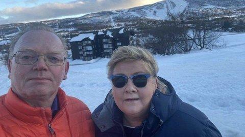 Statsministeren la ut dette bildet fra Geilo helgen familien og venner feiret hennes 60 årsdag. Foto: Skjermdump (Instagram)