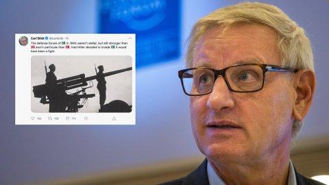 9. APRIL: Den tidligere svenske statsministeren Carl Bildt får kraftige reaksjoner etter han la ut dette hånende innlegget på Twitter. Foto: NTB / Skjermdump