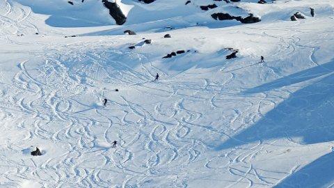 RENNER INN I NORGE: Mandag tok Steingrim Sneve dette bildet på Bjørnfjell. Han ser ofte folk som kommer fra svensk side av Katteratfjellet og renner inn i Norge. Det er et klart lovbrudd ifølge politiet.