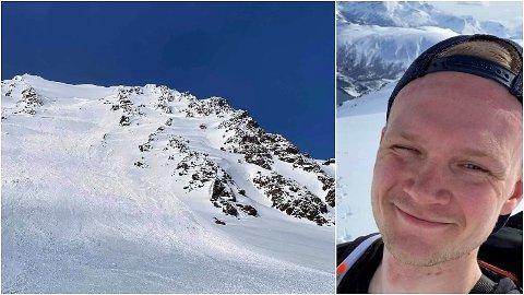 DØDE: Martin Tollefsen sendte dette bildet til mamma på tur opp Sofiatinden sist lørdag. 10 minutter senere omkom han og turvennen Robin Lie Sørensen i snøskredet.