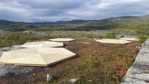 FRILUFTSCAMP: Narvik og omegn jeger og fiskeforening har fått satt opp fem plattinger til oppsett av lavvoer ved det populære friluftsområdet på Nygårdsfjellet. Planen er å tilrettelegge området med både lavvoer, gapahuk og utedo for bruk av både skoleklasser og barnefamilier.