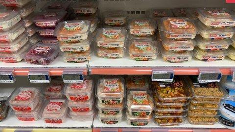 GIGANTISKE PRISFORSKJELLER: Du må betale dyrt for den største forpakningen med italiensk salat med kjøtt.