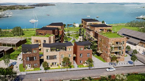 FØRSTE TRINN: I front ligger blokk C, med 8 leiligheter. Til venstre blokk B med 14 leiligheter og blokk A til høyre, med 29 leiligheter fordelt på 5 etasjer. I midten blir det lekeplass. Men hva er det som har skjedd med selve havna?